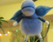 Fairy Ornament, Needle-felted with naturally dyed Merino Wool tops