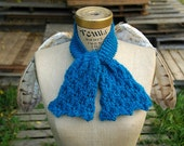 Hand Knit Teal Ascot Scarf - Ready To Ship