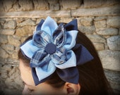 Blue Flower Clip,Checkered Fabric Flower, Deep Blue Flower, Cute Blue Headband Flower