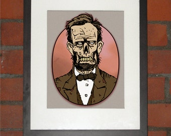 Zombie Abe Lincoln Portrait Art Print