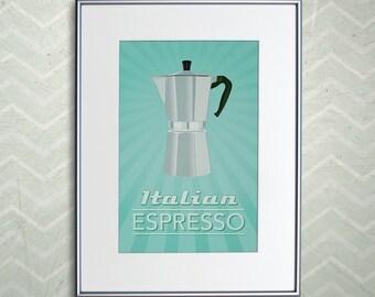 """Italian Espresso Coffee Print - Retro Home Decor Espresso Poster - 11x17"""" or A3"""
