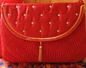 Vintage Red Golden Crown Purse Vintage by CJW