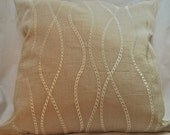 Linen Accent Pillow - Embroidered - Tan - cream - 18 Inches