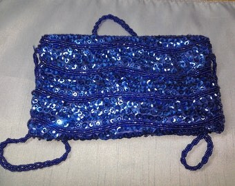 Walborg Blue Bead and Sequin Purse