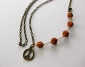 Rudraksha Seeds and Peace Symbol - Asymmetrical Brass Chain, Wire-Wrapped - Peace and Healing