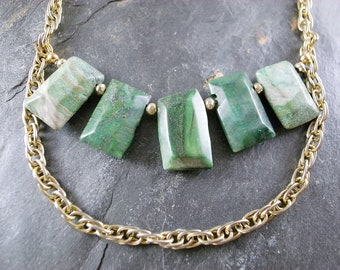OOAK Necklace - Jade and Vintage Gold Necklace - Not Your Grandma's Jade