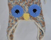 Owl Hat, With Ear Flaps 1-3 Years