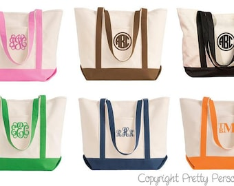 Bridal Party Gifts - Bridesmaid Gift -  Monogrammed Tote Bag - Bridesmaids Gifts, Bridesmaid Tote - Personalized Tote Bag  in 7 colors