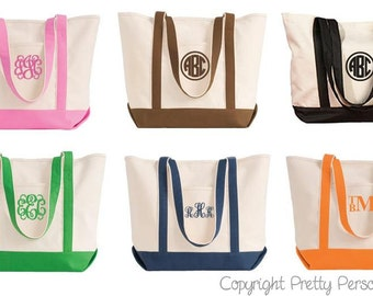 Bridal Party Tote Bag - Monogrammed Tote Bag - Personalized Tote Bag  in 6 colors