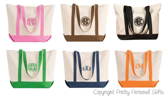 Tote Bag Monogrammed Personalized Canvas Tote Bag in 6