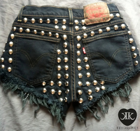 Levi's Black High Waisted Denim Shorts - Silver Studded Back