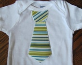 Baby Boy Tie Onesie - Green and Blue Stripe Size 6-9 Month Ready to Ship