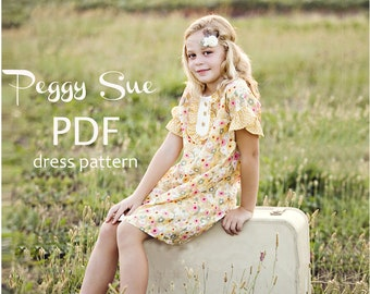 Peggy Sue - Ruffle Dress and Top PDF sewing pattern. Girl Sewing Pattern. Girl Top Pattern. Kids Clothing. Sizes 2-10
