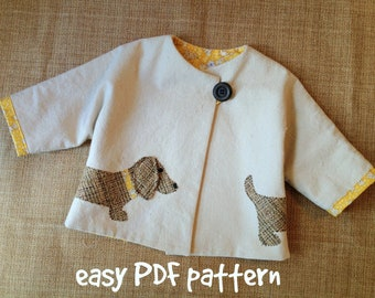 Good Dog - Car Coat PDF Pattern. Girl or Boy jacket pattern. Unisex sewing pattern.  Kid's clothing. Sizes 1/2 - 6