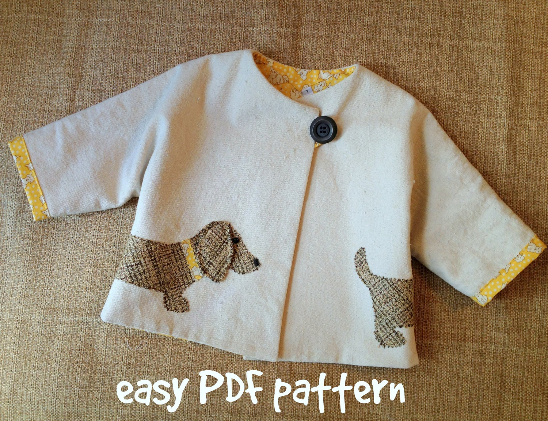 Good Dog Car Coat PDF Pattern. Girl or Boy jacket pattern.