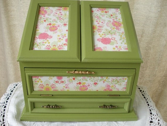 Vintage Hand Painted Decoupaged Upcycled Jewelry Box