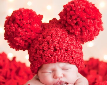 Red Baby Hat Newborn Baby Girl Hat Newborn Baby Boy Hat Newborn Baby Hat Pom Pom Hat Animal Ear Hat Christmas Photo Prop Valentine Baby Hat