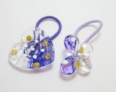 Purple Heart and Butterfly Button Ponytail Holders