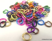 1/2 oz Mixed Anodized Aluminum Jump Rings, Machine Cut, 18 ga 3/16