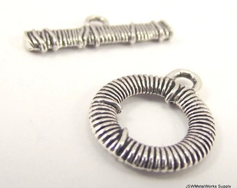 3 Decorative Antiqued Silver Pewter Toggle Clasp, Wire Wrapped Design