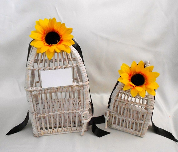 Items similar to set of wooden sunflower birdcage