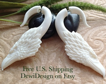 "Fake Gauge Earrings, ""American Pride"" Eagle, Natural Bone, Hand Carved"