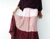 NO.53  Light Pink-Dusty Rose-Burgundy Cotton, Hippie Gypsy Boho Color-Block Tiered Skirt