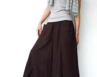 NO.41 Dark Brown Cotton Wide Leg Pants, Unique Pockets Capri Trousers, Women's Pants