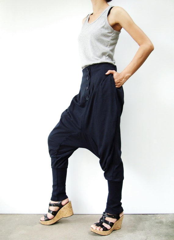 NO.64 Midnight Blue  Cotton Jersey Casual Baggy Dance Harem Pants, Stylish Button Fly Drop-Crotch Trousers, Unisex Pants