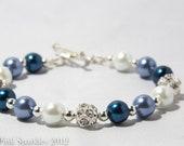 Blue Ivory Pearl Rhinestone Bracelet, Wedding Jewellery