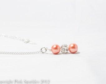 Orange Pearl Rhinestone Necklace, Bridesmaid Necklace