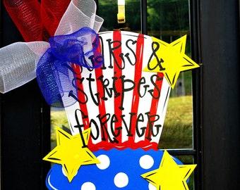 4th of July Wreath, Door Hanger: 4th of July Decor, Summer Door Decoration, Patriotic Wreath, Uncle Sam Hat Decor
