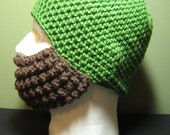 Crochet Bearded Skullcap - Beard Hat - Green Hat With Beard Face Warmer - Ready To Ship!