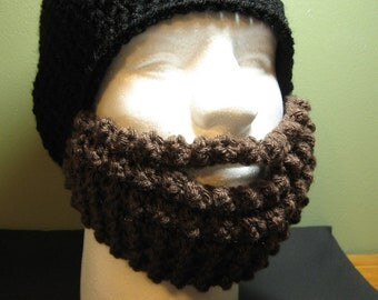 Crochet Bearded Skullcap - Beard Hat - Black Hat With Beard Face Warmer - Ready To Ship!