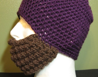 Crochet Bearded Skullcap - Beard Hat - Eggplant Purple Hat With Beard Face Warmer - Ready To Ship!