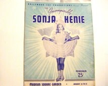 1938 Hollywood Ice Productions Present The Incomparable Sonja Henie Madison Square Garden Program Book