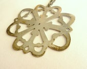 RESERVED for LORI - Large Silver Floral Shape Boho Necklace