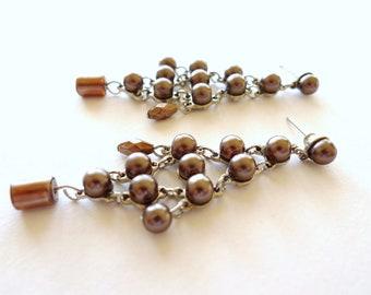 Dark Wine Pearl Beads Silver Chandelier Dangle Earrings