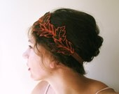 Woodland Leaf Headband embroidered forest hair accessory in coral, green, black and brown
