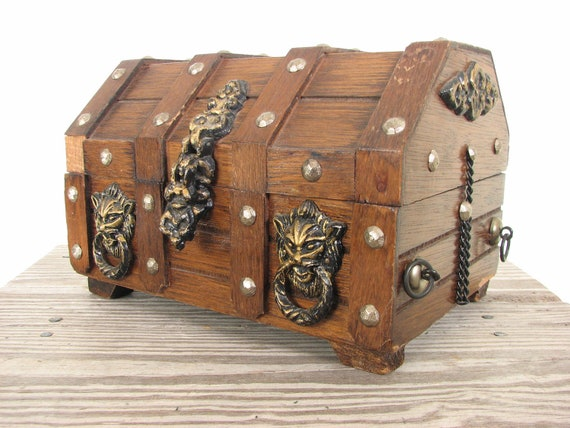Wood Pirate Chest ~ Wooden brown jewelry pirate treasure chest box