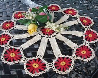 "Hand Crocheted Centerpiece Doily Floral Pattern 21"" round, Vintage 1950s, vintage decor"