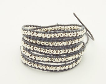 Wrap Bracelet  Grey Leather - Silver Beads