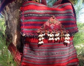 ROGUE River WALKABOUT Pack --tribal, nomadic, unisex, one of a kind, vintage, Kilim, backpack, messenger -- RESERVED for Feather