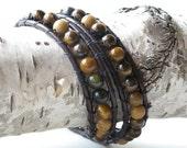 Leather wrap bracelet - tigers eye & jasper beads