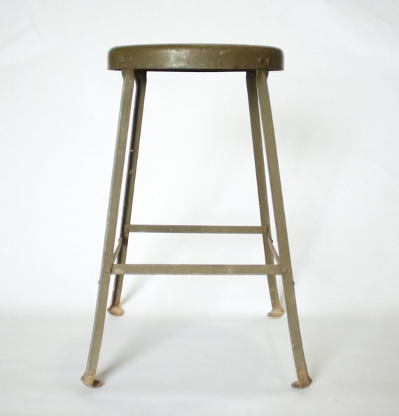 """Vintage Industrial Green Metal Stool 24"""""""