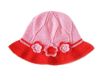 SALE: 50% OFF!! Pink/Red crochet hat with flowers Ready to ship, Back to school