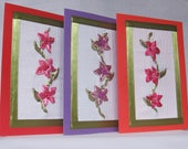 Set of three embroidered greeting card