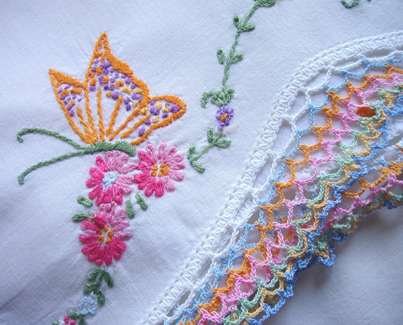 vintage embroidered butterfly pillowcase with crochet edging