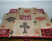Deal Me In Vintage Playing Card Burlap Placemats