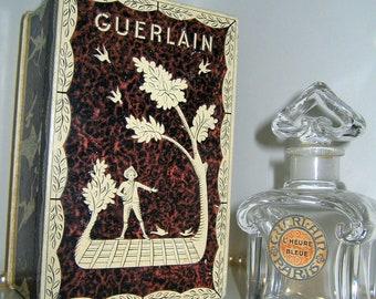 GUERLAIN L Heure Bleue BACCARAT Crystal Perfume Bottle Flacon W Box  Vintage Antique Collectible Signed PRESENTATION-